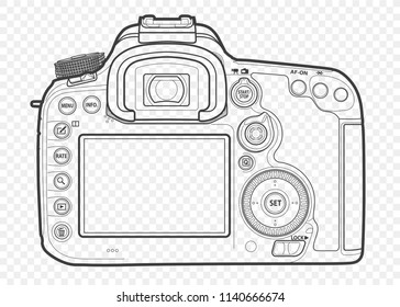Outline vector illustration of reflex slr camera with lens in front, drawn with lines.