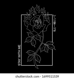 "Outline vector illustration, rose print   Japanese inscription 私と一緒にいて it means ""stay with me"" in English"