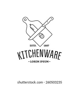 Outline Vector logo kitchenware. Silhouette sausage sliced; cutting board; knife.