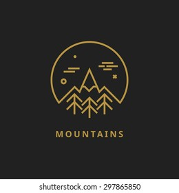 Outline vector logo of mountain. Landscape line illustration. Mountain line logo. Mountain badge. Travel logo. Nature logo. Camping logo. Mountain design element. Mountain line logo. Nature line logo.