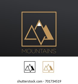 Outline vector logo of mountain. Nature travel logo.