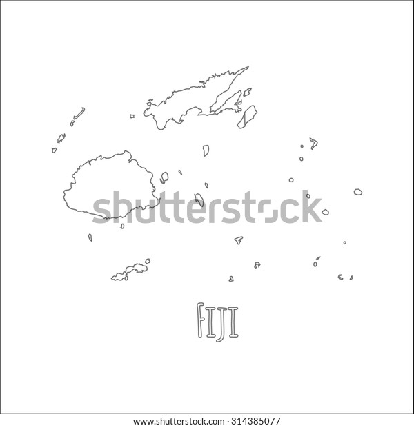 Outline Vector Map Fiji Simple Fiji Stock Vector Royalty
