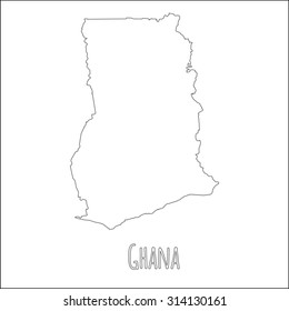 Ghana Outline Map Country Shape National Stock Vector (Royalty Free ...