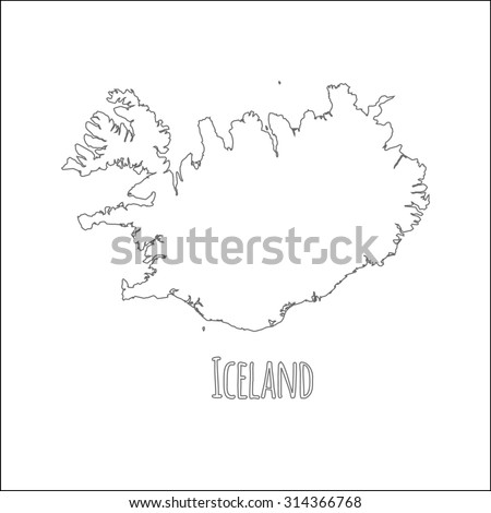 Outline Vector Map Iceland Simple Iceland Stock Vector (Royalty Free ...