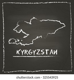 Outline vector map of Kyrgyzstan hand drawn with chalk on a blackboard. Chalkboard scribble in childish style. White chalk texture on black background
