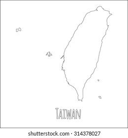 Outline vector map of Taiwan. Simple Taiwan border map. Vector silhouette on white background.