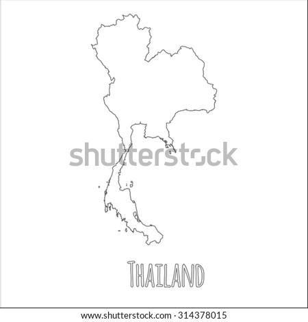 Outline Vector Map Thailand Simple Thailand Stock Vector (Royalty ...