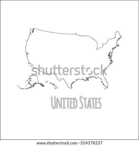 Outline Vector Map United States Simple Stock Vector Royalty Free