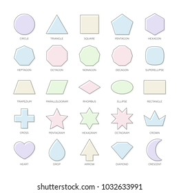 Outline vector set basic geometric shapes. Kids thin figures school collection. Triangle, square, pentagon, octagon, superellipse, trapezium, rhombus, ellipse, heart, octagram, diamond, star, polygon.