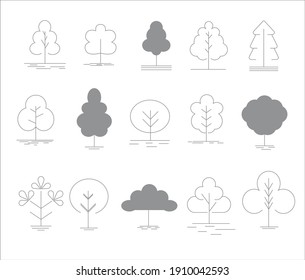 Outline vector set with trees. Vector icons for web design. Isolated on white background. Template for eco design.