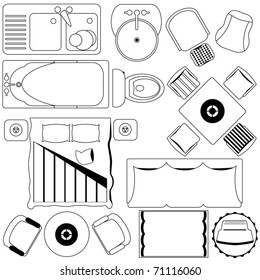 Outline Vector of simple Furniture plan, Floor Plan as design elements. A set of cute and colorful icon collection isolated on white background