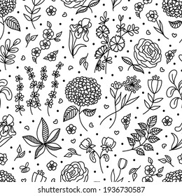 Outline vector Spring Flowers and Leaves doodle seamless pattern. Hand drawn Garden Plants. Blossom season Floral background for design textile, scrapbooking, package, wrapping paper, card, invitation