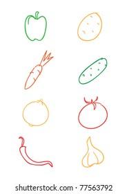 outline vector vegetable set