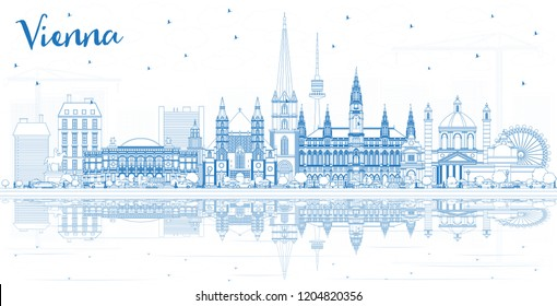 Outline Vienna Austria City Skyline with Blue Buildings and Reflections. Vector Illustration. Business Travel and Tourism Concept with Historic Architecture. Vienna Cityscape with Landmarks.