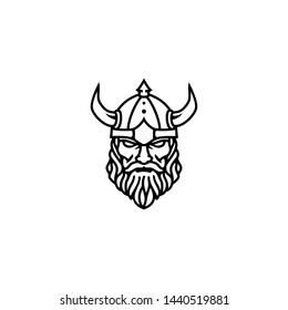 Outline Viking Head Face for Esports Logo design