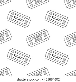 Outline vintage cinema tickets seamless pattern background.