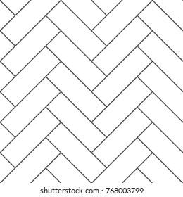 Outline vintage wooden floor herringbone parquet vector seamless pattern. Illustration of flooring parquet design texture