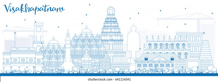 Outline Visakhapatnam Skyline with Blue Buildings. Vector Illustration. Business Travel and Tourism Concept with Historic Architecture. Image for Presentation Banner Placard and Web Site.