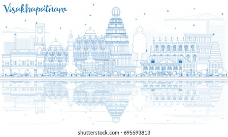 Outline Visakhapatnam Skyline with Blue Buildings and Reflections. Vector Illustration. Business Travel and Tourism Concept with Historic Architecture. Image for Presentation Banner Placard and Web