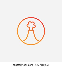 Outline volcano icon,gradient illustration,vector magma sign symbol