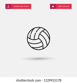 Outline Volleyball Icon isolated on grey background. Modern simple flat symbol for web site design, logo, app, UI. Editable stroke. Vector illustration. Eps10