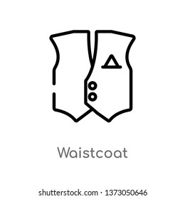 outline waistcoat vector icon. isolated black simple line element illustration from clothes concept. editable vector stroke waistcoat icon on white background