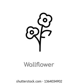 outline wallflower vector icon. isolated black simple line element illustration from nature concept. editable vector stroke wallflower icon on white background