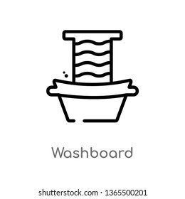 outline washboard vector icon. isolated black simple line element illustration from miscellaneous concept. editable vector stroke washboard icon on white background