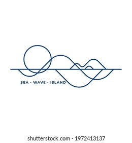 outline wave and island logo vector