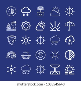 Outline weather icon set such as brightness, contrast, umbrella, beach sunset, sunrise, haze, cloudy, rainbow, sleet, snow, tornado