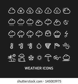 Outline Weather Icons Set Collection