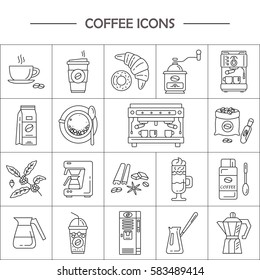 Outline web icon set . Elements - mocha pot, coffee mill, latte, vending, plant, cup, cezve, coffe machine.  Vector of coffee making equipment.