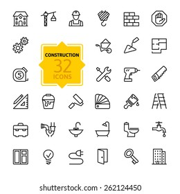Outline web icons set - building, construction and home repair tools