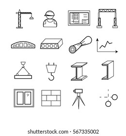 Outline web icons set - building, construction and design tools. Vector illustration