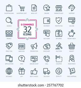 Outline web icons set - E-commerce