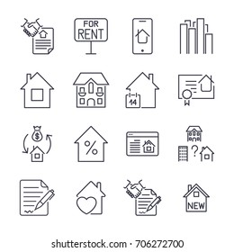 Outline web icons set - Real Estate. Icon set with editable stroke