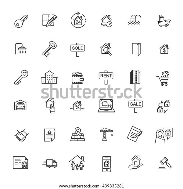 Umrissset für Web-Symbole - Immobilien