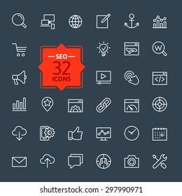Outline web icons set - Search Engine Optimization