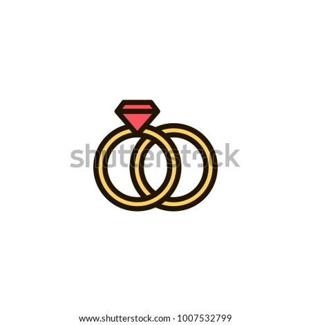Outline Wedding Rings Icon Isolated On Stock Vector Royalty Free
