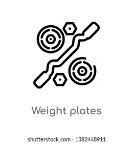 outline weight plates vector icon. isolated black simple line element illustration from gym equipment concept. editable vector stroke weight plates icon on white background
