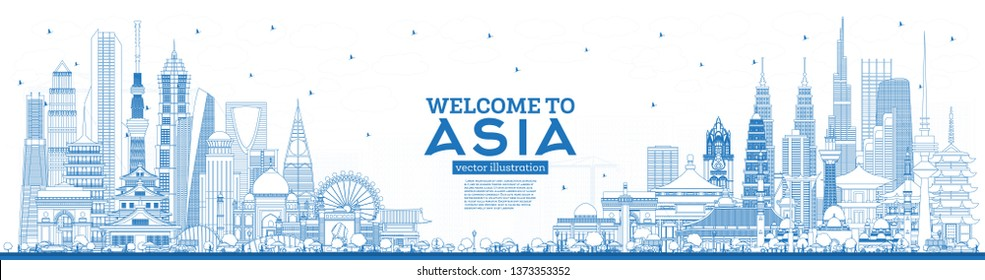 Outline Welcome to Asia Skyline with Blue Buildings. Vector Illustration. Tourism Concept with Historic Architecture. Asia Cityscape with Landmarks. Tokyo. Shanghai. Singapore. Delhi. Riyadh.