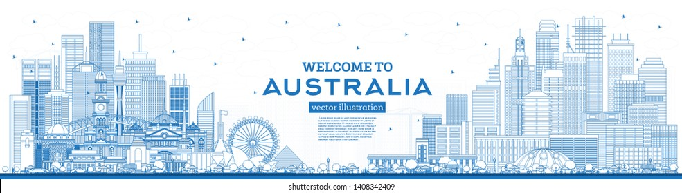 Outline Welcome to Australia Skyline with Blue Buildings. Vector Illustration. Tourism Concept with Historic Architecture. Australia Cityscape with Landmarks. Sydney. Melbourne. Canberra. Brisbane.