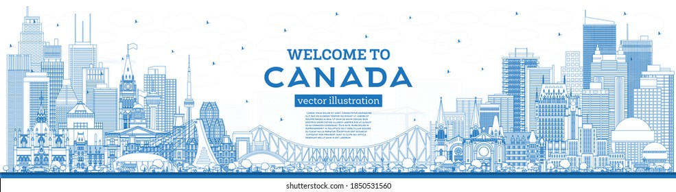 Outline Welcome to Canada City Skyline with Blue Buildings. Vector Illustration. Concept with Historic Architecture. Canada Cityscape with Landmarks. Ottawa. Toronto. Montreal. Vancouver.