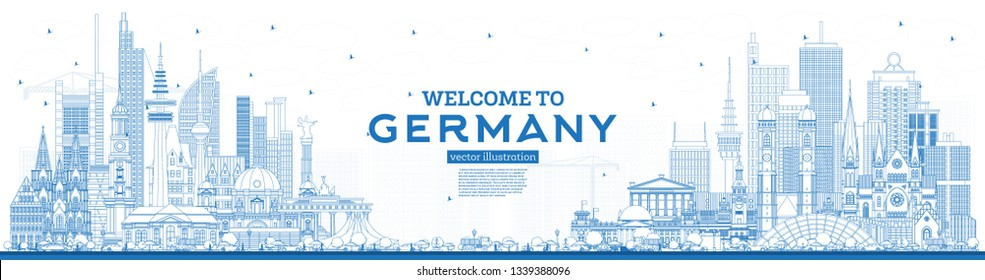 Outline Welcome to Germany Skyline with Blue Buildings. Vector Illustration. Business Travel and Tourism Concept with Modern Architecture. Germany Cityscape with Landmarks.