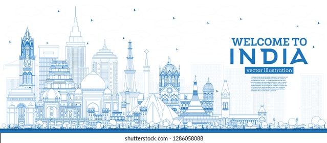 Outline Welcome to India City Skyline with Blue Buildings. Delhi. Mumbai, Bangalore, Chennai. Vector Illustration. Tourism Concept with Historic Architecture. India Cityscape with Landmarks.