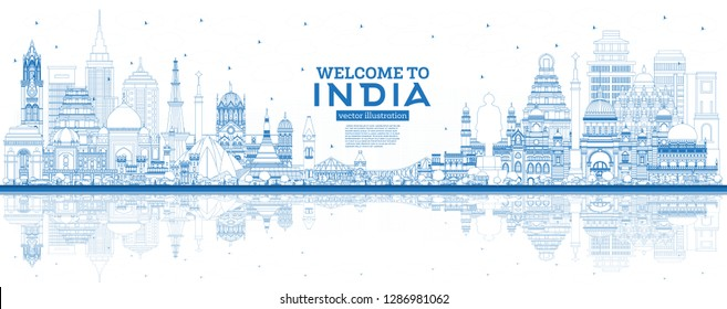 Outline Welcome to India City Skyline with Blue Buildings and Reflections. Delhi. Mumbai, Bangalore, Chennai, Hyderabad, Kolkata, Patna, Visakhapatnam. Vector Illustration.