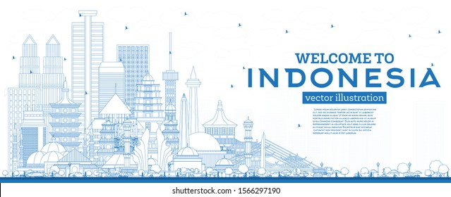 Outline Welcome to Indonesia Skyline with Blue Buildings. Vector Illustration. Tourism Concept with Historic Architecture. Indonesia Cityscape with Landmarks. Jakarta. Surabaya. Bekasi. Bandung. Medan