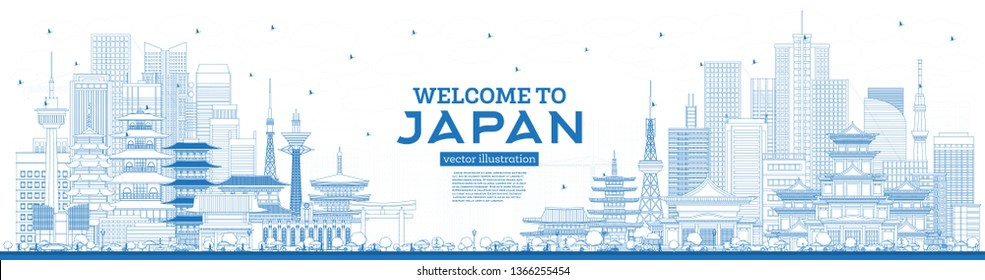 Outline Welcome to Japan Skyline with Blue Buildings. Vector Illustration. Tourism Concept with Historic Architecture. Cityscape with Landmarks. Tokyo. Osaka. Nagoya. Kyoto. Nagano. Kawasaki.