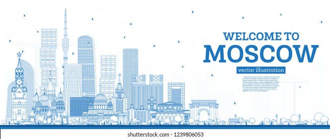 Outline Welcome to Moscow Russia Skyline with Blue Buildings. Vector Illustration. Business Travel and Tourism Concept with Modern Architecture. Moscow Cityscape with Landmarks.