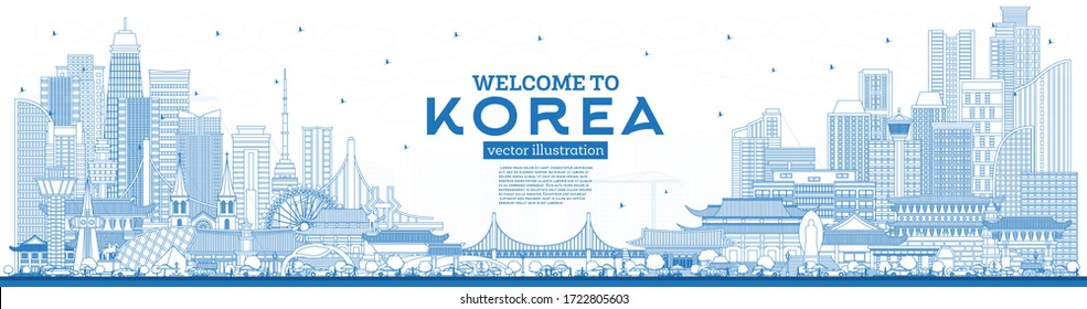 Outline Welcome to South Korea City Skyline with Blue Buildings. Vector Illustration. Tourism Concept with Historic Architecture. South Korea Cityscape with Landmarks. Seoul. Busan. Daegu. Incheon.